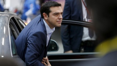 """Greece's Prime Minister Alexis Tsipras arrives at a euro zone leaders summit in Brussels, Belgium, July 12, 2015. Euro zone leaders will fight to the finish to keep near-bankrupt Greece in the single currency on Sunday after the European Union's chairman canceled a planned summit of all 28 EU leaders that would have been needed in case of a """"Grexit"""".   REUTERS/Francois Lenoir  - RTX1K2N7"""