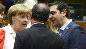 "Greek Prime Minister Alexis Tsipras speaks with German Chancellor Angela Merkel (L) and French President Francois Hollande at a euro zone leaders summit in Brussels, Belgium, July 12, 2015. Euro zone leaders will fight to the finish to keep near-bankrupt Greece in the euro zone on Sunday after the European Union's chairman cancelled a planned summit of all 28 EU leaders that would have been needed in case of a ""Grexit"". REUTERS/Stringer/Pool - RTX1K30N"